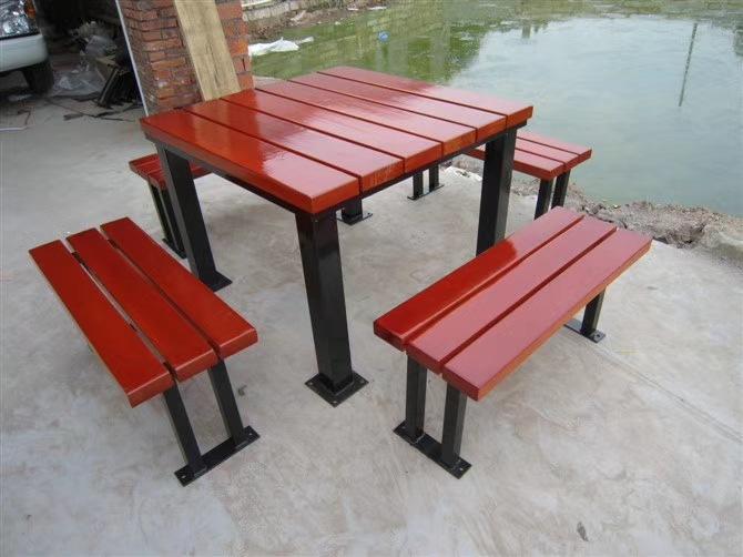 长期供应户外防腐木休闲椅 公园小区座椅 长椅 铸铁腿 实木 塑木示例图14