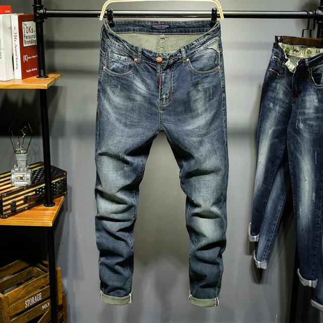 新款牛仔裤男弹力修身小脚裤子男士青年秋季休闲韩版潮流直筒长裤