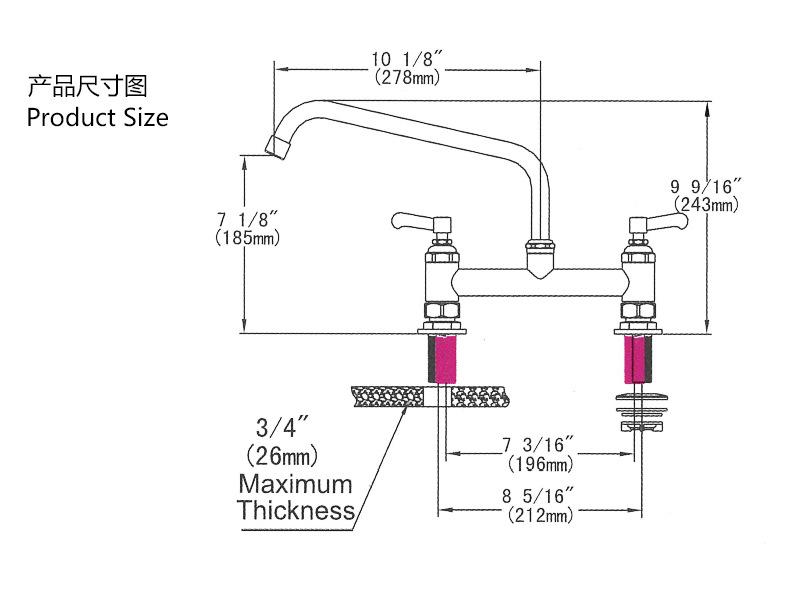 跨境專供廠家 廚房水槽全銅水龍頭 全銅雙孔廚房菜盤冷熱水龍頭示例圖3