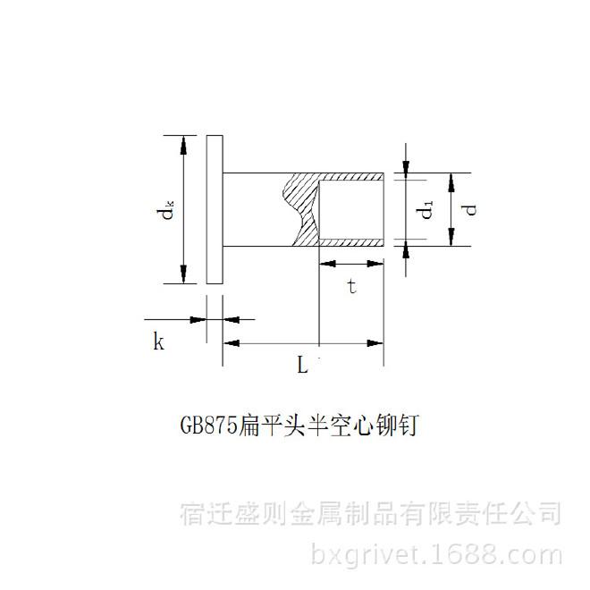 GB875扁平头半空心铆钉