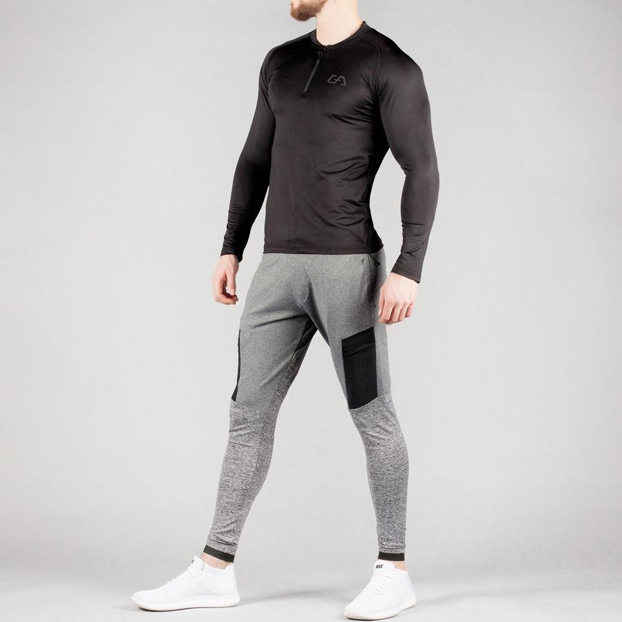 蒂贝鲨肌肉兄弟健身速干高弹长袖紧身上衣运动透气紧身长袖T恤示例图9