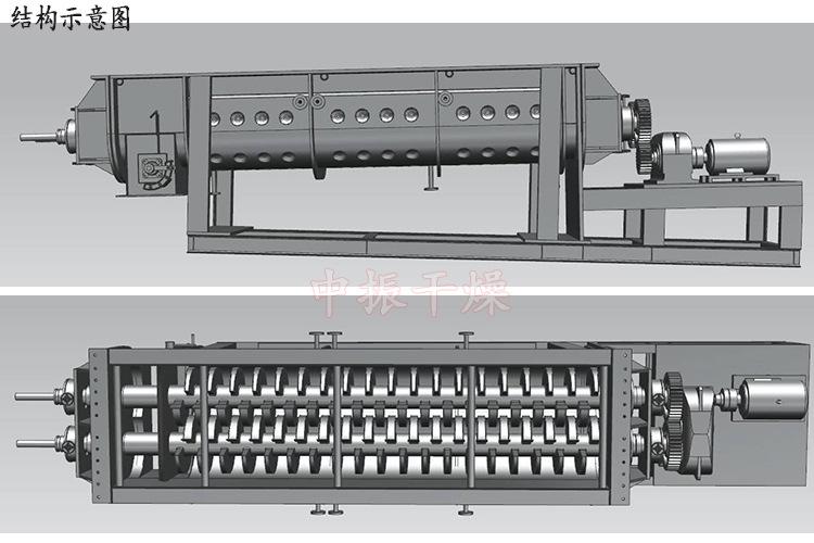 空心桨叶干燥机 污泥 染料干燥机 双轴桨叶干燥机示例图13