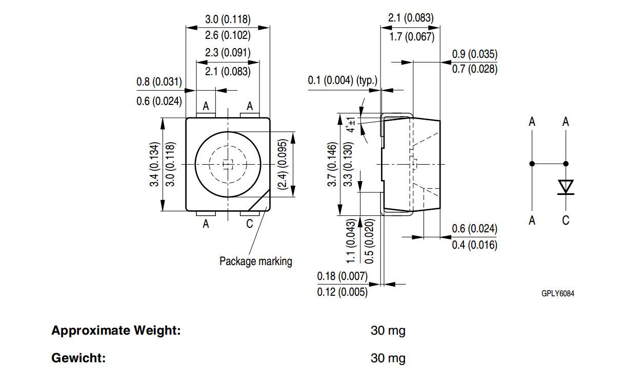 LCB E6SG-V1AB-5K6L 原装OSRAM 欧司朗3528冰蓝色  LCD背光源led示例图1