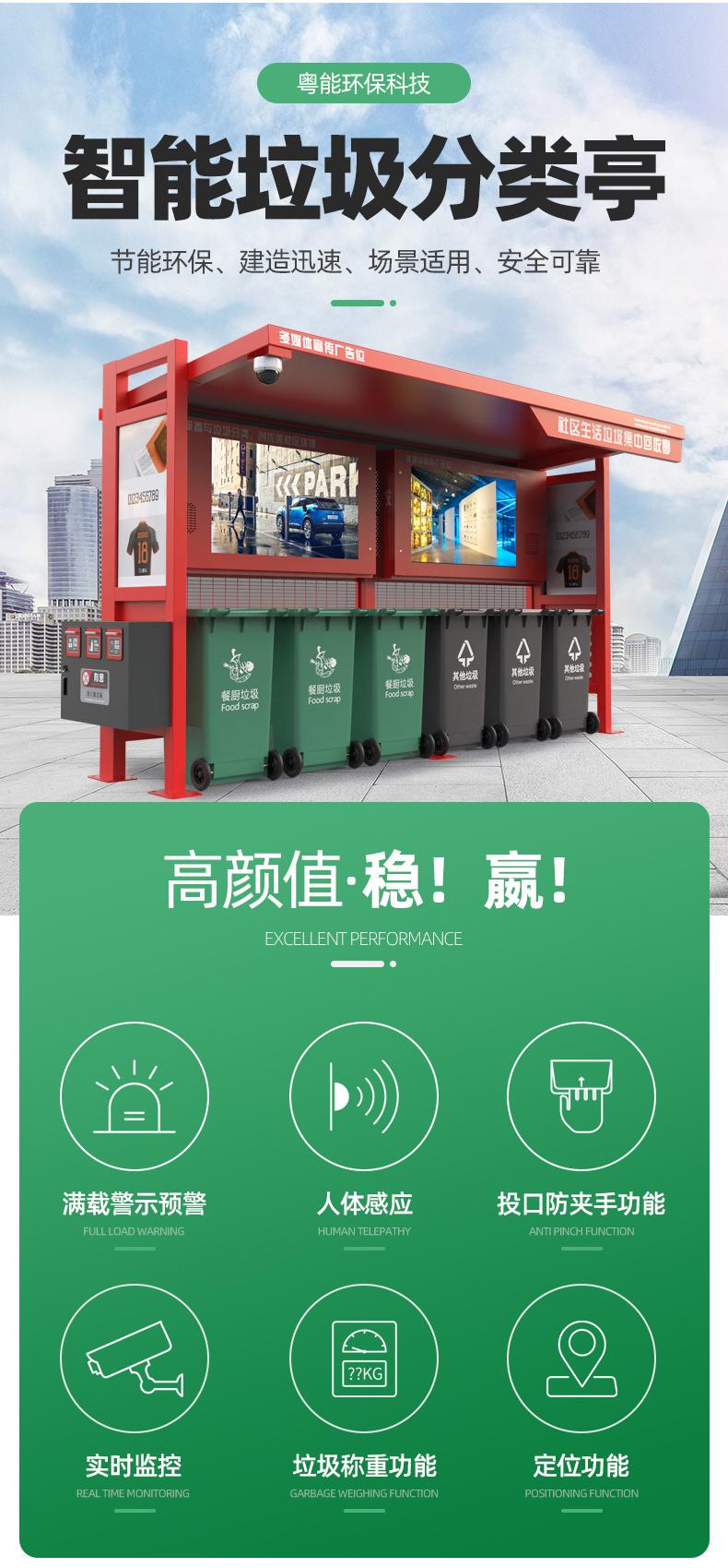 多重身份識別粵能YN--1480P小區智能垃圾桶  品牌垃圾分類回收箱示例圖6