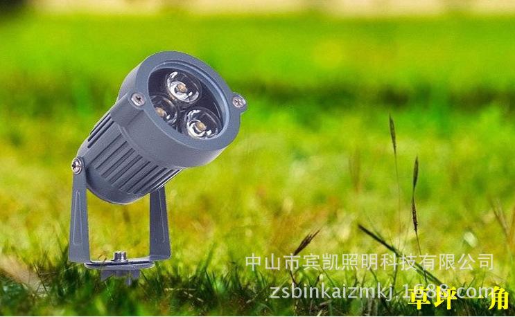 LED投射灯3w6w户外防水地插灯 草坪投射灯圆形插地灯花园射树灯示例图12