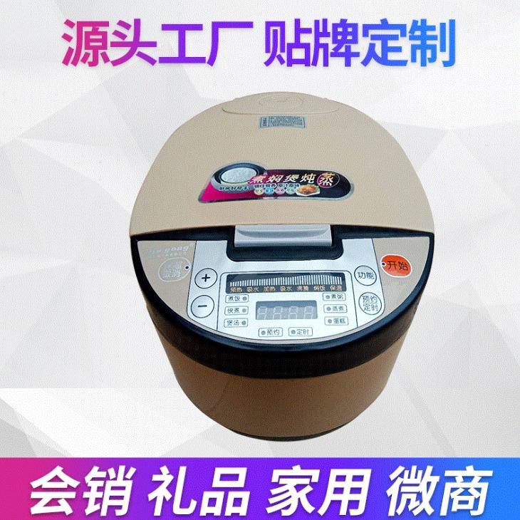 創幕廠家供應土豪金電飯煲 5L家用智能預約大容量電飯鍋 電壓力鍋