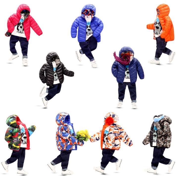 艾蒙斯廠家直銷批發中小童兩面穿短款外套 2019秋冬新款連帽兒童棉服外套