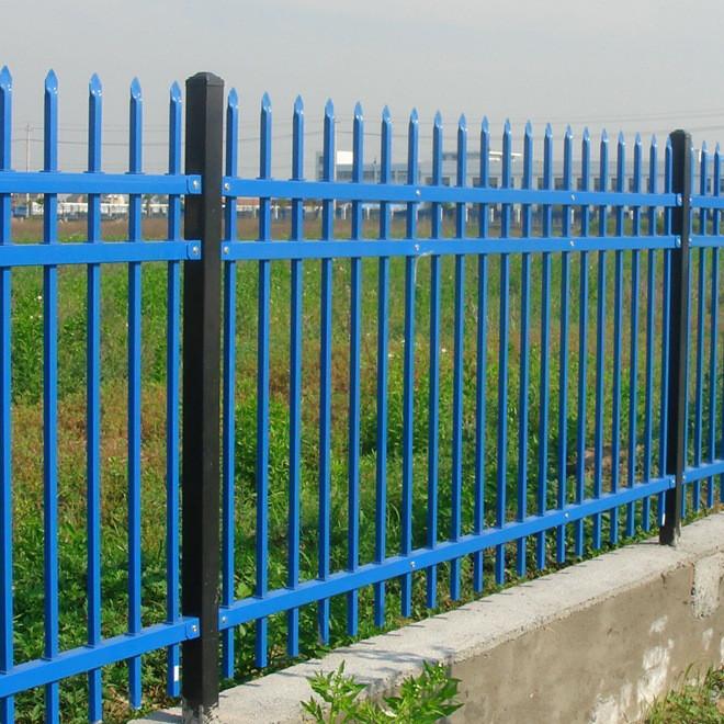 蓝白色护栏 厂区围栏 锌钢护栏 铁艺锌钢护栏